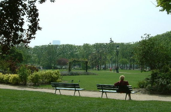 Champs de Mars, one of the largest, most beautiful parks in Paris